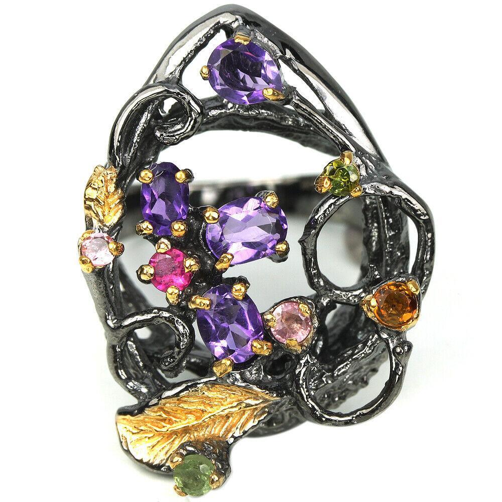 Серебряное кольцо с аметистом и турмалином, 1480КА