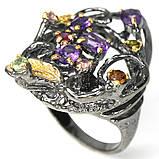 Серебряное кольцо с аметистом и турмалином, 1480КА, фото 2