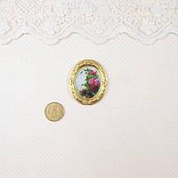 """1:12 Миниатюра """"Картина - ветка розы"""" 3.9 см"""