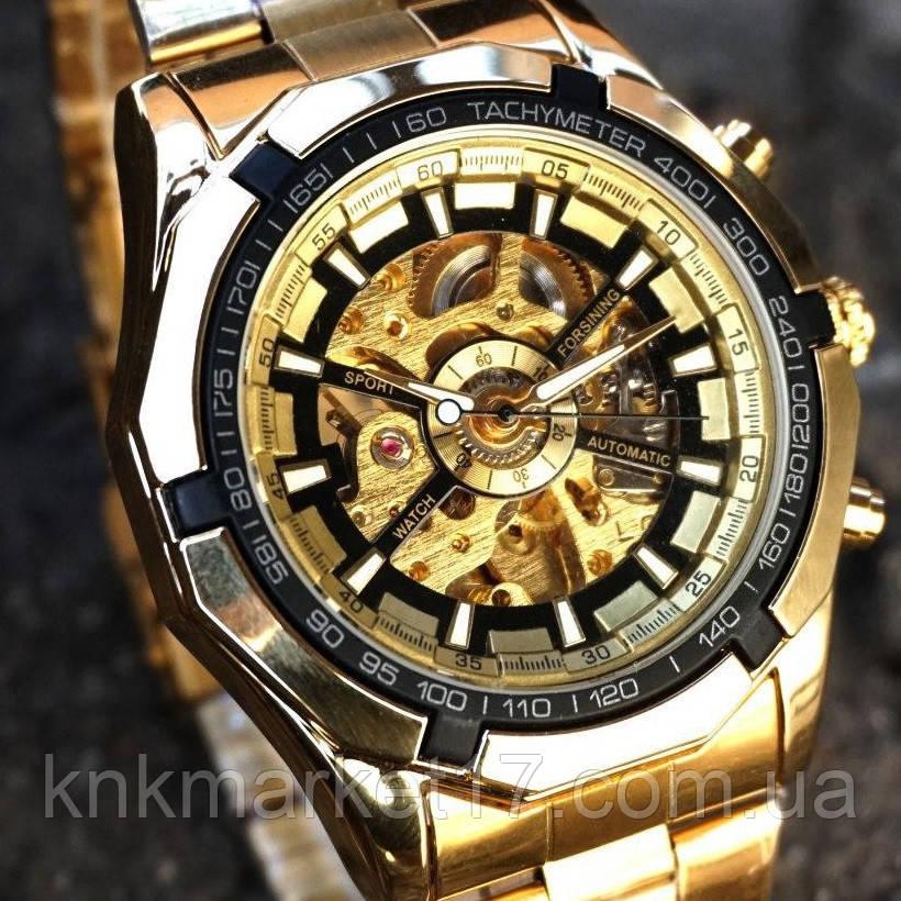 Чоловічі годинники Forsining 8042 Gold-Black