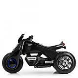 Детский трехколесный электромобиль мотоцикл BMW Hurricane на резиновых колесах M 3926A-2 черный, фото 3