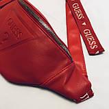 Женская бананка GUESS 067 поясная сумка красная, фото 2