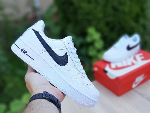 Мужские кроссовки Nike Air Force 1 Белые с чёрным