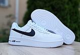 Мужские кроссовки Nike Air Force 1 Белые с чёрным, фото 3