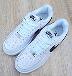 Мужские кроссовки Nike Air Force 1 Белые с чёрным, фото 4