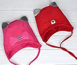 Весенняя Шапка с ушками для девочки на 1-2 года клубничного цвета, фото 5