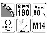 КРУГ ШЛИФОВАЛЬНЫЙ АЛМАЗНЫЙ YATO 180 Х 22.2 ММ 6600 ОБ/МИН M14, фото 3
