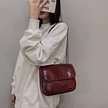 Женская большая классическая сумочка через плечо на два отдела красная, фото 2