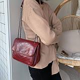 Женская большая классическая сумочка через плечо на два отдела красная, фото 4