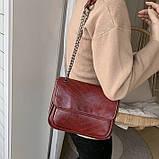 Женская большая классическая сумочка через плечо на два отдела красная, фото 3