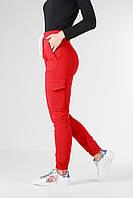 Красные штаны джоггеры женские с карманами, демисизонные женские брюки из стрейч-котона VS 1087, фото 1