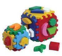 """Іграшка куб """"Розумний малюк 1+1"""" ТехноК"""", Технок, игрушки для малышей,сотер,деревянные игрушки,деревянный"""