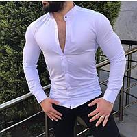 Рубашка приталенная стойка воротник( М____2XL)