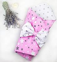 Конверт на выписку для новорожденных в роддом для девочки Розовый/белый звезды