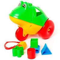 """Каталка логика """"Лягушка"""" (зелёная), Бамсик, игрушки для малышей,сотер,деревянные игрушки,деревянный"""