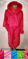 Теплый махровый детский, подростковый халат, для девочек, на запах, с капюшоном р. 6 - 14лет цвета разные