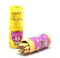 Карандаши цветные 9 см, 12 штук, в колбе, цветные карандаши,карандаши ,фломастеры