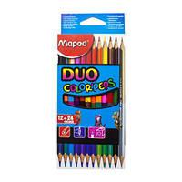 """Набор двухцветных карандашей """"Duo"""", 12 штук, Maped, цветные карандаши,карандаши ,фломастеры"""
