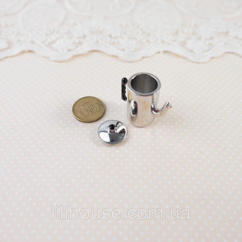 """1:12 Миниатюра """"Кофейник серебро"""" - 2.7 см"""