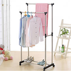 Подвійна телескопічна підлогова вішалка для одягу Double Pole Clothers Horse (30 кг)