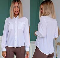 Блуза с карманами однотонная женская (ПОШТУЧНО)