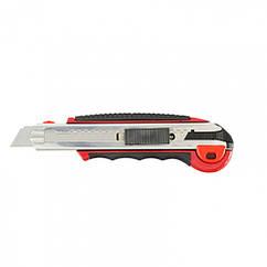 Нож, 18 мм, выдвижное лезвие, металлическая направляющая, обрезиненная ручка, 5 лезвий Matrix