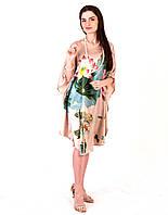 Летнее платье (натуральный шелк 100% ) Цветок (S-L)