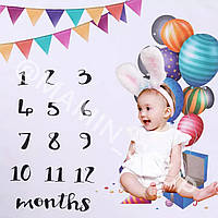 Фото по месяцам, аксессуар для фотосессии ребёнка дома фото коврик