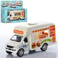 Машинка KS 5257 W  металл, инер-я, кафе на колесах, 13см, откр. двери, в кор-ке, 16-13,5-5,5см