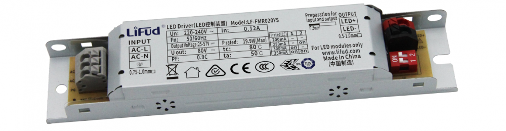 Блок живлення 200-350мА 20Вт 25-57вольт драйвер світлодіодного світильника LF-FMR020YS IP20 12656