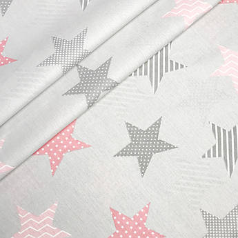 """Турецкая хлопковая ткань ранфорс """"Звёзды серые, розовые в горошек, линии на сером"""" 240 см"""