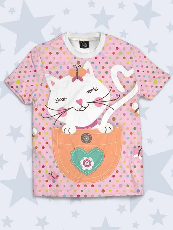 Детская футболка Кошечка с бабочкой