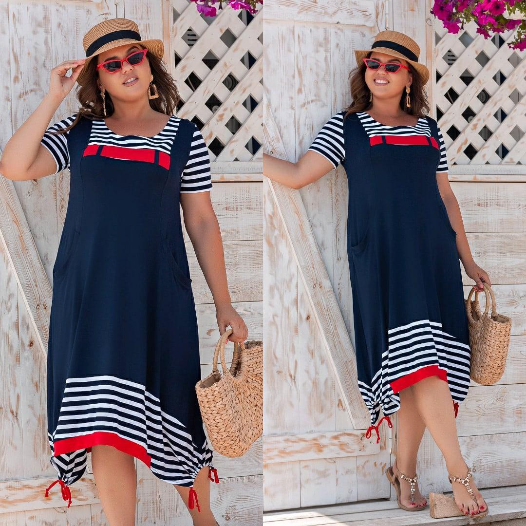 Оригинальное платье морячка свободного кроя с карманами и регулировкой по подолу, батал большие размеры
