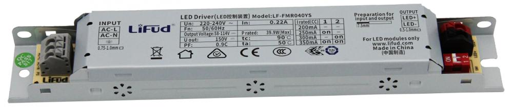 Драйвер світлодіодного світильника 200-350мА 40Вт 58-114вольт блок живлення LF-FMR040YS IP20 LiFud 12657