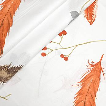 """Турецкая хлопковая ткань ранфорс """"Перья оранжевые на белом"""" 240 см"""