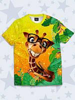 Детская оранжевая футболка с принтом Веселый Жираф Размер 1 - 10 лет