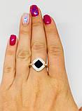 Серебряное кольцо с золотом с ониксом Джоанна, фото 4