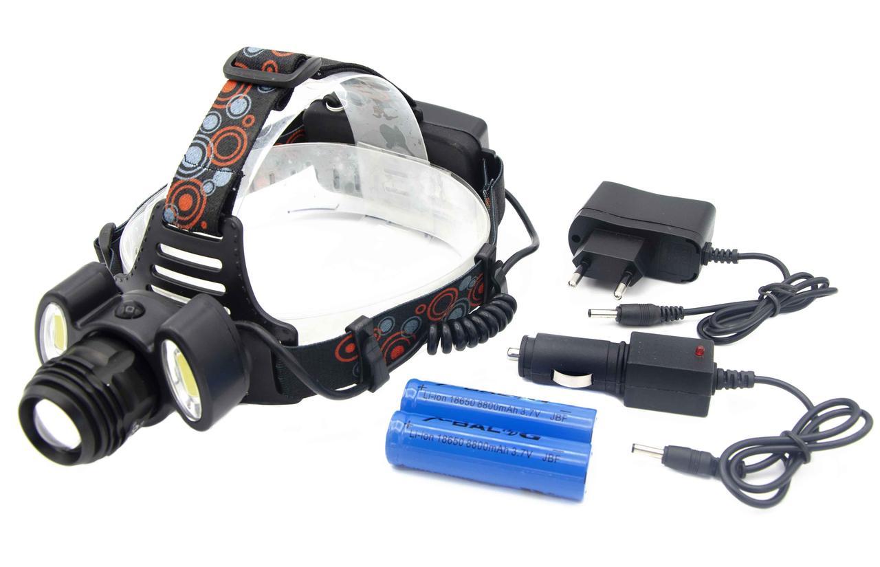Ліхтар X-Balog BL-C862-T6/WD298/ Акк./ 1xT6 2xCob / Кріплення на голову