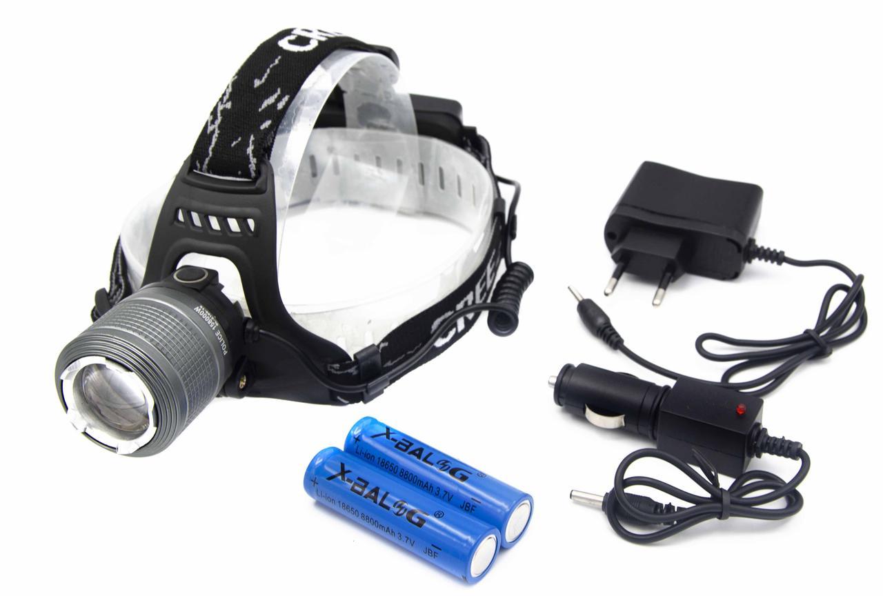Фонарь X-Balog BL-2199-2 WD261/ Акк./ T6/ 2 типа подсветки /белый и синий/ Крепление на голову