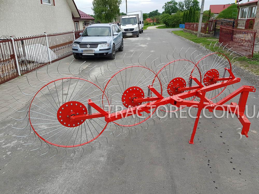 Грабли ворошилки для мини-трактора 4х колесные НОВОГО образца. Гребка, грабарка к трактору. Польша
