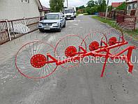 Грабли ворошилки для мини-трактора 4х колесные НОВОГО образца. Гребка, грабарка к трактору. Польша, фото 1