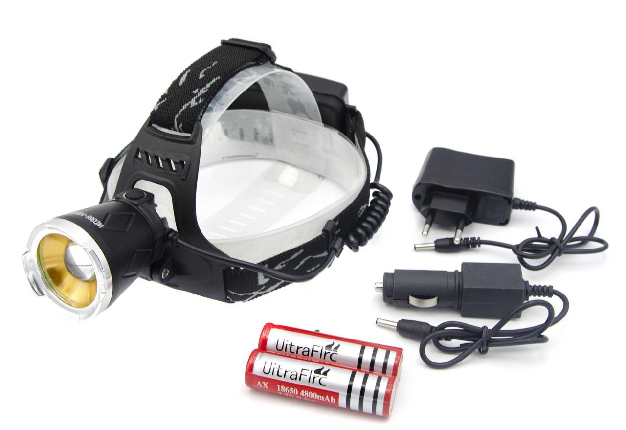 Фонарь WD111 /2*18650 Акк./ T6+XPE /ультрафиолет / Zoom/MicroUSB ЗУ/ Крепление на голову