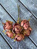 Искусственные цветы ранункулюса, диаметр 2 см, 60 шт в уп., кремового цвета, фото 1
