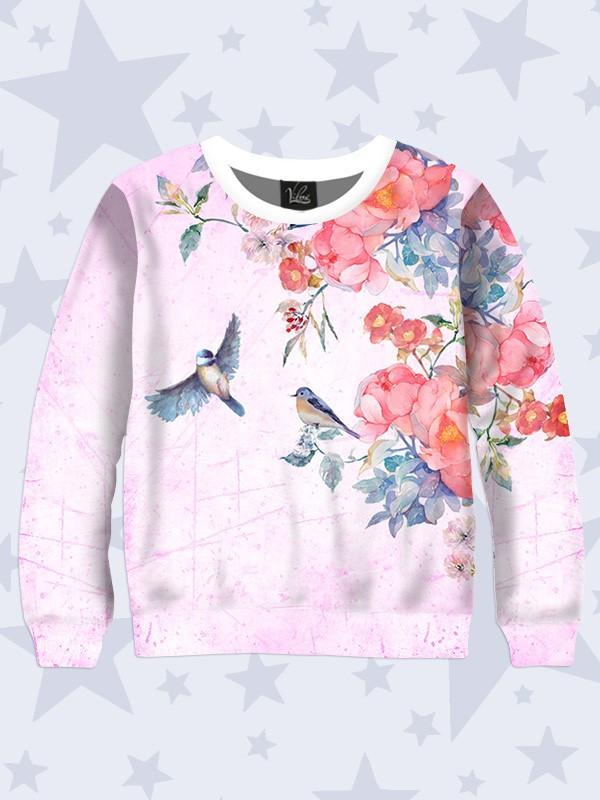 Детский свитшот Цветы и птичкиР