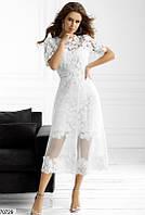 Белое ажурное вечернее летнее платье 42 44 46