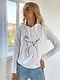 """Модный свитшот женский """"Девушка"""". Размер - 42-46 , 48-50 Цвет - белый,  бежевый,  чёрный, фото 4"""