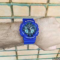 Мужские наручные часы синие в стиле Casio G-Shock с датой. Годинник чоловічий