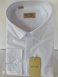 Белая мужская рубашка Boveri классическая однотонная  с длинным рукавом