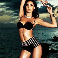 Шикарнейшая моделька купальник черный с высокой талией (S, M, L, XL)