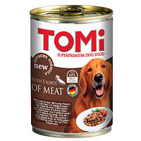 TOMi 5 kinds of meat 5 ВИДОВ МЯСА консервы для собак, влажный корм , 1.2 кг.